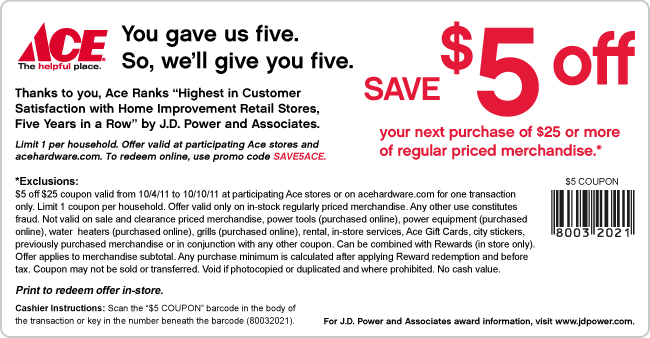 picture relating to Ace Hardware Printable Coupons named ACE Components Printable Coupon Via 10/10/11 - Crock Pot