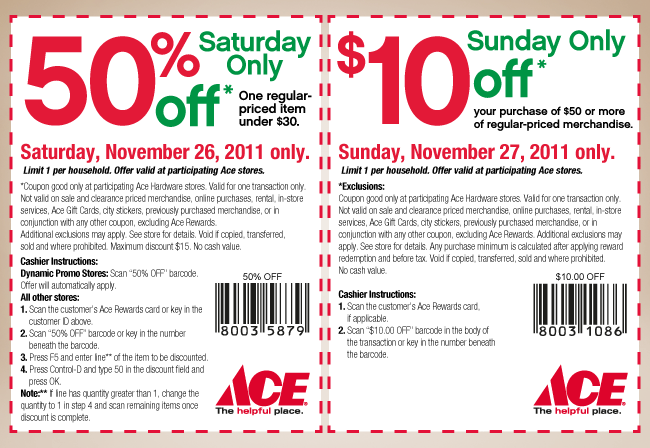 image relating to Ace Hardware Printable Coupons identify ACE Components Coupon 11/26/11 - Crock Pot Recipes, Gradual