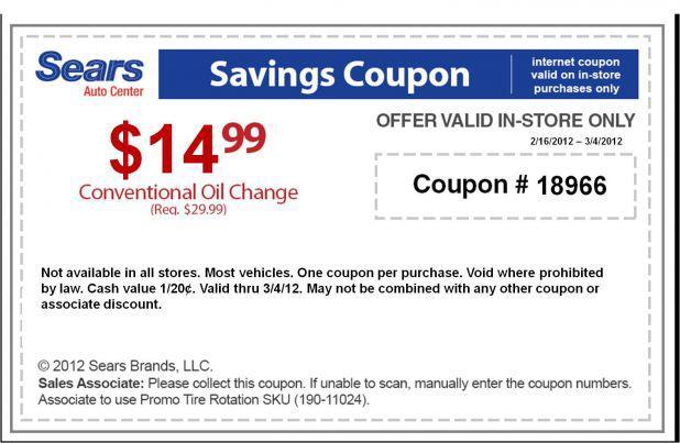 Oil Change Deals >> Sears Auto Oil Change For 14 99 Through 3 4 12 Crock Pot Recipes