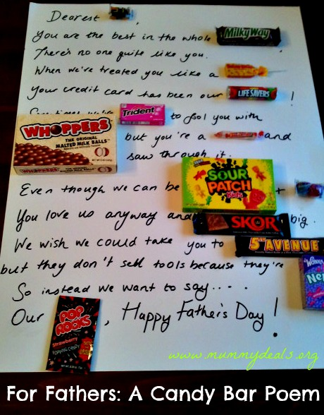 Gift Ideas For Fathers: A Father's Day Candy Bar Poem