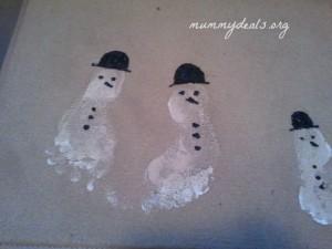 Homemade Snowman Footprint Doormat