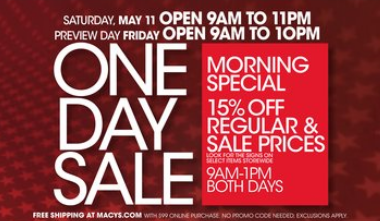 Macys one day sale may 2013