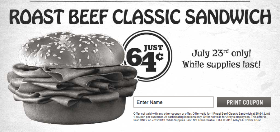Arby's roast beef for $0.64