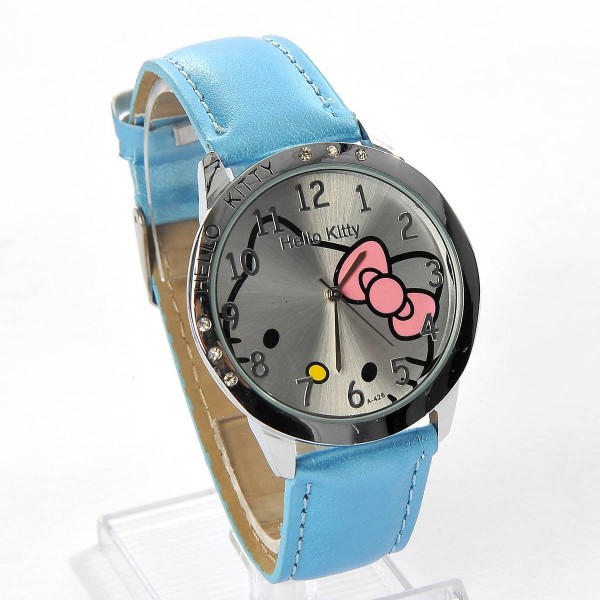 Hello Kitty Large Round Face Quartz Wristwatch Faux Leather Band Blue $3.75