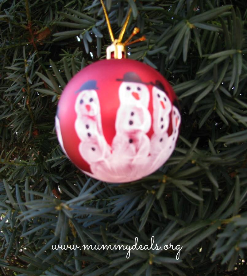 Handprint Snowman Ornament Craft