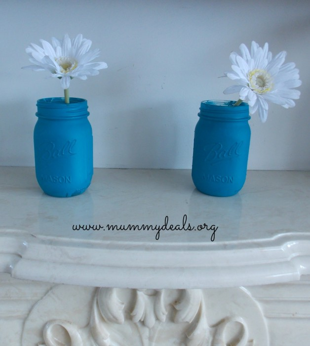 Painted Mason Jars for a Spring Mantelpiece 2