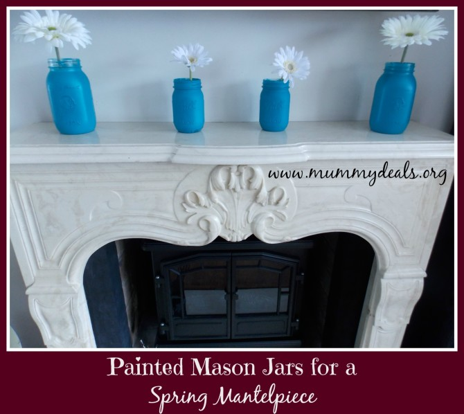 Painted Mason Jars for a Spring Mantelpiece 3