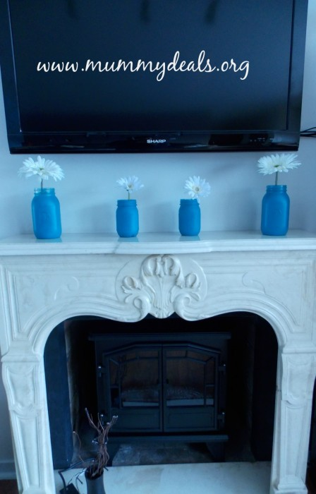 Painted Mason Jars for a Spring Mantelpiece 4