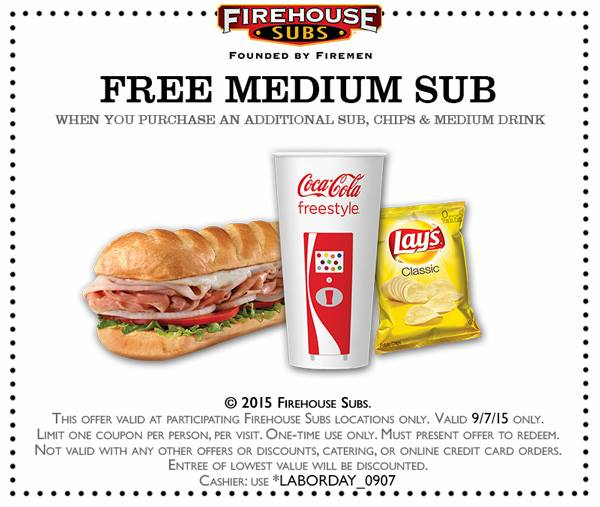 graphic relating to Firehouse Subs Printable Menu identified as Firehouse subs coupon - Dining places near gwinnett arena