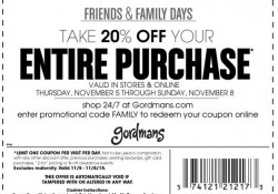 Gordman's invites you to join them during their friends and family event with this 20% Gordman's coupon. Gordman's coupon is available for use in-store and online