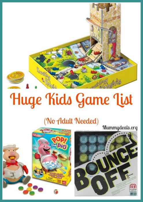 Huge Kids Game List No Adult Needed