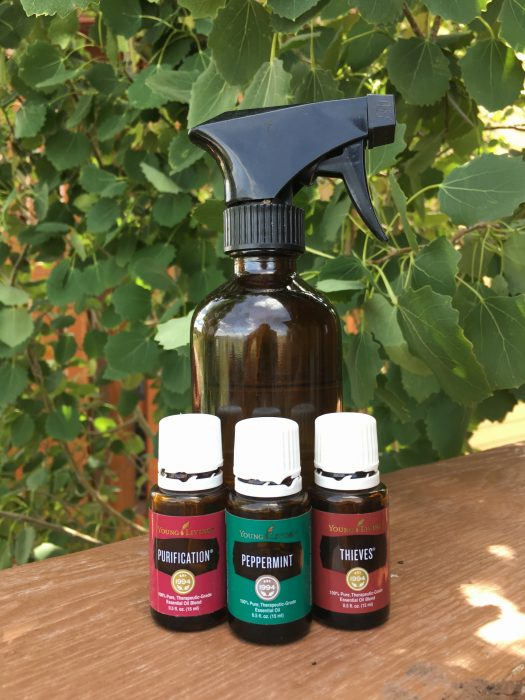 homemade outdoor camp spray with Young Living essential oils including thieves essential oil, peppermint essential oil and purification essential oil.