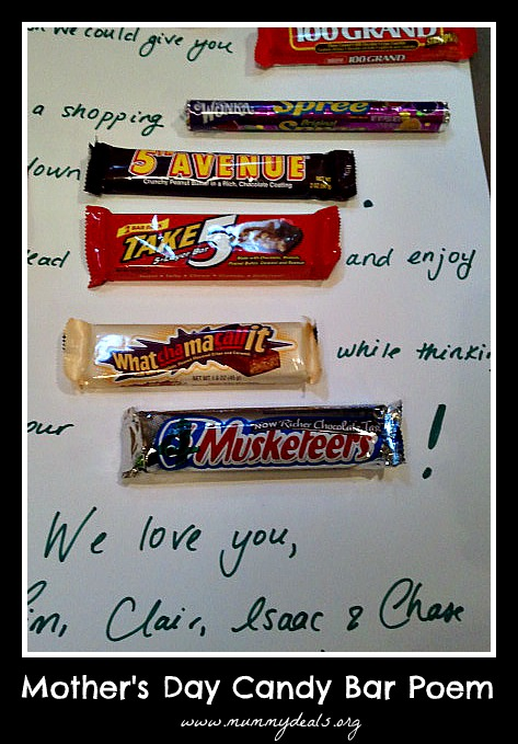 Mothers Day Chocolate Bar Poem